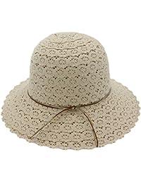 Zhhlaixing Sombrero de Paja de Encaje Hueco de Mujer Gorra Ligera y  Transpirable con Gorra de f8192bc23ee