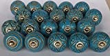 knobsworld 20blau Plateau Peep Toe Look gemischt Runde Blume Form Keramik Türknauf, Keramik Schrank Griff zieht Schublade Abzieher Knopf–Blau