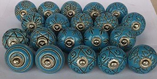 knobsworld 20blau Plateau Peep Toe Look gemischt Runde Blume Form Keramik Türknauf, Keramik Schrank Griff zieht Schublade Abzieher Knopf-Blau (Runder Knopf Schrank)