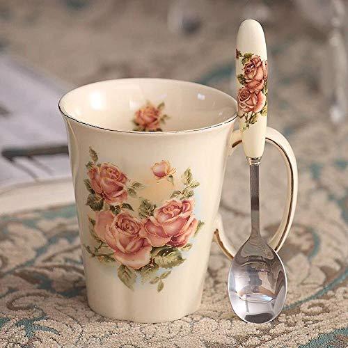 Keramiktasse Bechertasse mit Deckel Löffel Milch Schwarztee Frühstückstasse Kaffeetasse Rosenmuster Multi Stil-Rot Rosenwasser Glaslöffel 002