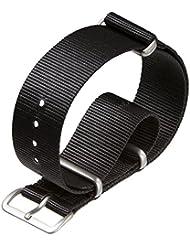 Bracelet de montre militaire G10 NATO en nylon par ZULUDIVER® Noir, 20mm