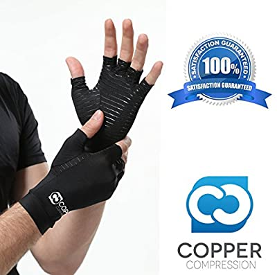 Copper Compression Arthritis Glove, #1 GUARANTEED Highest Copper Content & Highest Quality Copper! Infused Fit Wear It Anywhere