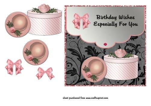 Cappellino Rosa e cappelliera-Buon Compleanno by Lorna Quinney