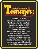 Original RAHMENLOS Blechschild Verhaltensregeln für Teenager: Warum das Bett machen, wenn man sich abends wieder reinlegt, … Nr.3721