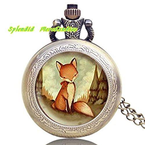 Red Fox Halskette Uhr, Fox Anhänger Uhr, Fox Schmuck, Fox Animal Halskette, Art der Tiere, Schmuck, Kinder Jewelry Kinder-Little Fox in the Woods Armbanduhr