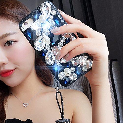 Cover iPhone 6S,Cover iPhone 6,Custodia iPhone 6S / iPhone 6 Cover,ikasus® Handmade di lusso scintilla Bling Full Crystal strass diamanti con Ciondolo in nappa in PU custodia per iPhone 6S / 6 Custodi Blu