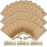 Cadre photo en papier 5x7 Kraft cadres en papier photo 30 cadres bricolage en carton avec des pinces en bois et de la ficelle en jute (Marron)