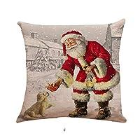 Auied 1PC Xmas Cotton Pillow Case Linen Cushion Cover Merry Christmas Home Decoration (45x45cm) (C, 18x18inches)