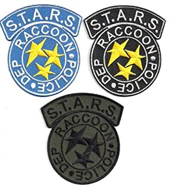 "Resident Evil STARS RACCOON POLICE DEP 3.5"" Patches Set of 3 (REPA-RAC3) embroidery 100%Diameter 3.5"" By SSLINK"