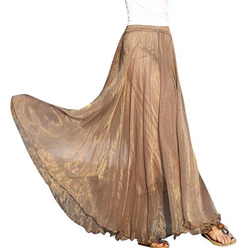Minetom donne casuali gonna lunga abito estivo abbigliamento da spiaggia ( caffè )