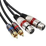 Yeung Qee Dual Cinch-Stecker auf Dual XLR-Buchse, 2 XLR-Buchsen auf 2 Cinch-Stecker, HiFi-Audiokabel für Verstärker, Mischer, Mikrofon, Kabel 2 RCA to 2xlr Female,3m