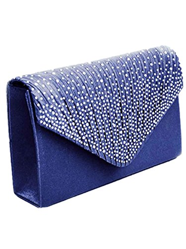 Internet Femmes Diamant Sac à bandoulière Satin Portefeuille Forme d'enveloppe 21*13*5cm Marine