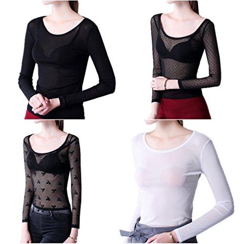 Smile YKK T-shirt Transparent Femme Dentelle Chemise Top Manches Longues Blouse Pull Col Rond Noir Nœud,