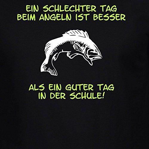 Fun Shirt Herren Ein schlechter Tag beim Angeln ist besser als ein guter Tag in der Schule Sprüche Angeln Angelsprüche Schwarz