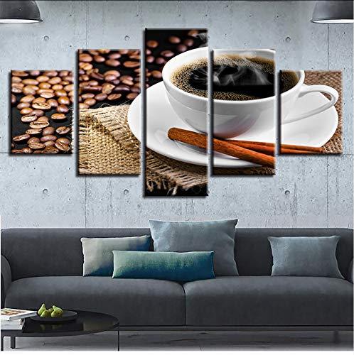syssyj (Kein Rahmen) Leinwand Bilder Poster Modulare Wandkunst 5 Stücke Kaffee Und Kaffeebohnen Gemälde Hd GedrucktDekor Moderne Wohnzimmer