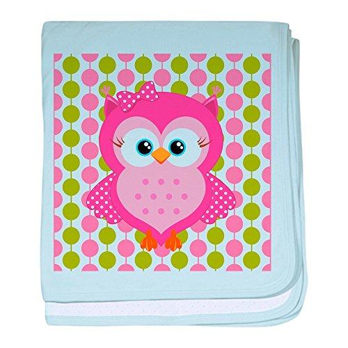 CafePress–Pink Eule auf rosa und grün Baby Decke–Baby Decke, Super Weich Für Neugeborene Wickeldecke, baumwolle, himmelblau, Standard