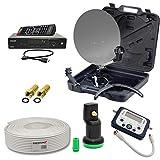 PremiumX HD Camping TV Sat Anlage Schüssel 35cm im Koffer mit DVB-S2 HDTV Receiver HDMI-Kabel + Digital SatFinder + Green Diamond Single LNB + 10m Koax-Kabel mit 2X F-Stecker + Kompass