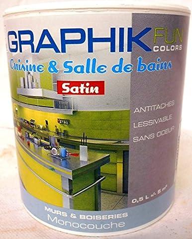 Peinture cuisines et salles de bain Graphik couleur Bleu marmara satin 0.5L