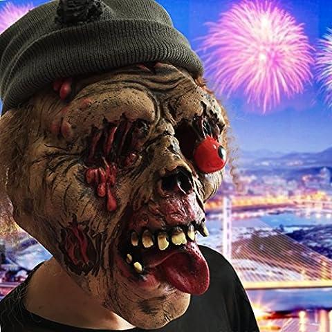 Halloween Masque fantôme Tête zombie de effrayant masque d'Halloween Masque terrifiant Peur horreur carnaval Partie cosplay Costume Réunion Botanique homme Tête sanglant adulte
