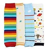 Dotty Fish Baby & Kleinkind Stulpen Multipack - Jungen und Mädchen 4-pk mit Außerirdische, Regenbogenstreifen, Sternen und blauen Wolken