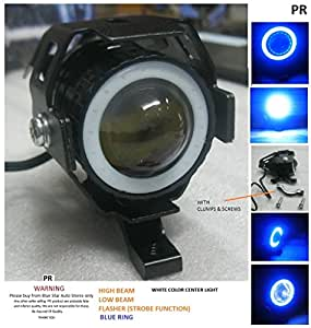 PR Fog Light Led Universal Motorycle Bike & Scooter (1Pc) (Blue Ring) High Beam,Low Beam,Flashing Modes For Mahindra Centuro Rockstar