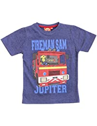 Official Licensed Fireman Sam Boys T-Shirt Top Blue Age 6 8