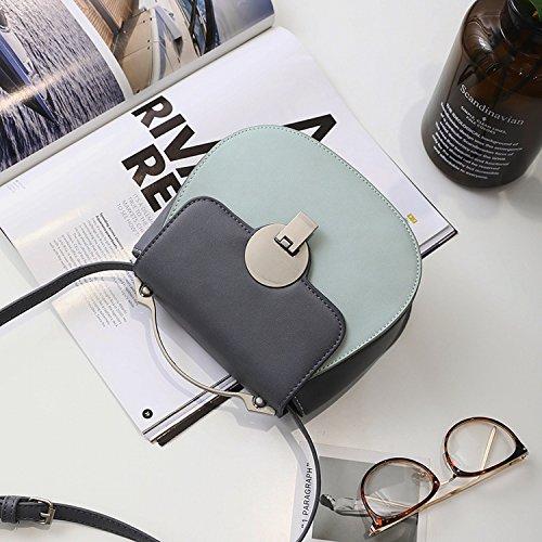 Damenbekleidung Hardware Griff Schlag Farbe Lock Tasche Schulter Messenger Bag Mode Einfaches Paket Blau