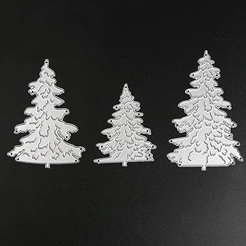 Demiawaking 3Pcs Weihnachtsbaum Schneiden Schablonen DIY Sammelalbum Dekor Papier Karten, Metall Buchzeichen , Metall Lesezeichen als Geschenk fuer