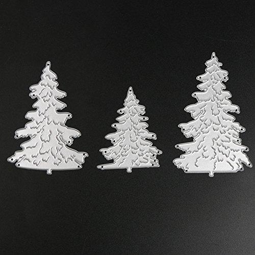 Demiawaking 3Pcs Weihnachtsbaum Schneiden Schablonen DIY Sammelalbum Dekor Papier Karten, Metall Buchzeichen , Metall Lesezeichen als Geschenk fuer Freunde