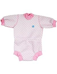 Splash About Happy Nappy - Traje de neopreno para niños, color Rosa (Guingán), talla 6-14 meses/L