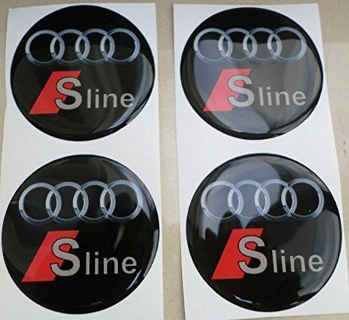 AUDI SLINE 60 MM NERO TUNING 3D 3M RESINATO COPRIMOZZI S LINE BORCHIE CAPS ADESIVI STICKERS X 4 PEZZI