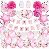 AivaToba Decorazioni Compleanno Bambina, Palloncini Compleanno Impostato con Striscione Buon Compleanno,Palloncini Rosa e Pompon di Carta velina per Ragazza 1 Anno