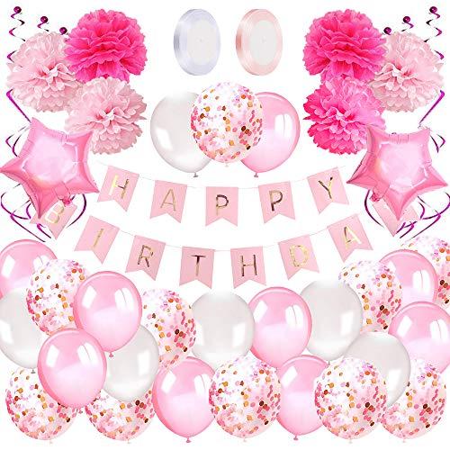 Geburtstagsdeko Mädchen Happy Birthday Girlande Ballons Geburtstag Dekoration Set mit Luftballons Rosa, Seidenpapier Pompoms Rosa für Deko Geburtstag Taufe Mädchen -