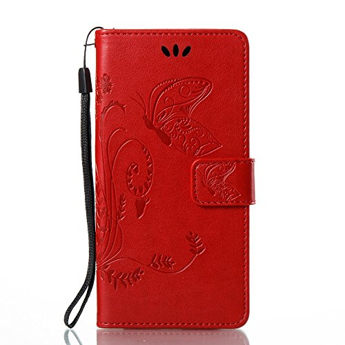 Solid Color Faux Leder Bookstyle Brieftasche Stand Case mit geprägten Blumen & Lanyard & Card Slots für Huawei P10 Lite ( Color : Coffee ) Red