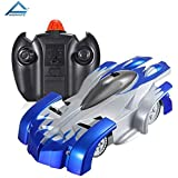 Animate Remote Control Car Toy, Rechargeable RC Wall Climber Car For Kids Boy Girl Birthday Present With Mini Control Dual Mode 360° Rotating Stunt Car LED Head Gravity Defying, Blue