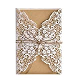 FifijuanC Lot de 50 cartes d'invitation de mariage découpées au laser avec inserts en papier kraft marron pour mariage, fête prénatale, fête d'anniversaire 12.5cm x 18cm blanc