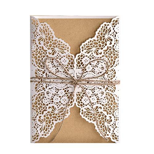 FifijuanC 50 Einladungskarten für Hochzeit, Babyparty, Geburtstagsparty, Party-Einladungen mit braunem Kraftkarten-Einlegeblatt für Hochzeit, Babyparty, Geburtstag, Party-Zubehör 12.5cm x 18cm weiß