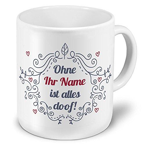 XXL Riesen-Tasse mit Namen personalisiert - Motiv Ornamente - individuell gestalten - Namenstasse, Kaffeebecher, Becher, Mug