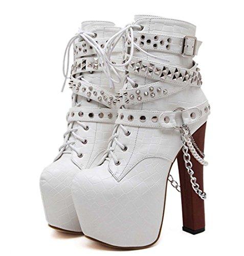 Martin Stiefel 16cm High Heel Spitz Zehen Kegel Ferse Niet Kurz Stiefel Frauen Mode Plattform Warm Ankle Boot ( Color : White , Size : 37 )
