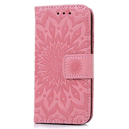 MAXFE.CO Lederhülle Tasche Case für iPhone 5 SE Hülle PU + TPU Schutz Etui Schale Backcover Flip Cover 3D im Bookstyle mit Standfunktion Kartenslots-Traumfänger 1 Pink