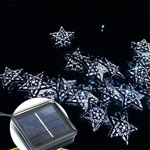 Im Freien Wasserdichte Garten Weihnachten Licht Solar Lichterkette 20Led Eisen Fünfzackigen Stern Lichterkette Weiß (Weihnachten-lichter Im Freien)