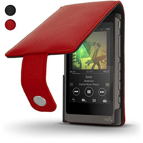 igadgitz Rot Leder Flip Tasche Schutzhülle für Sony Walkman NW-A35 NW-A40 MP3-Player Etui Case Cover mit Magnetverschluss + Displayschutzfolie