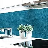 Küchenrückwand Wandstruktur Petrol Hart-PVC 0,4 mm selbstklebend - Direkt auf die Fliesen, Größe:220 x 80 cm