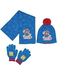 Echarpe, bonnet et gants enfant garçon Super Mario Bleu de 3 à 9ans