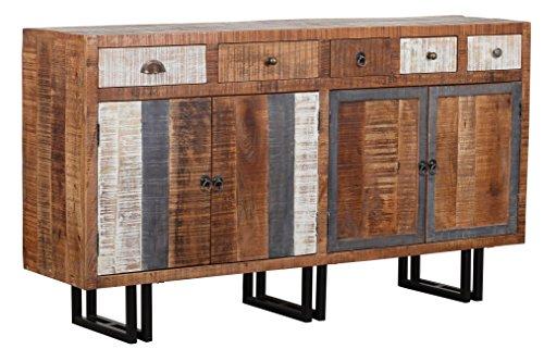 The Wood Times Sideboard Vintage Wohnzimmerschrank Massiv New Rustic Mangoholz, FSC Zertifiziert, BxHxT 160x90x40 cm