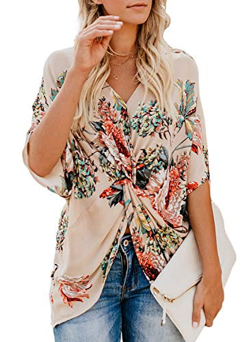 cab69d6423d858 Elapsy Ladies Summer Floral Print Shirts 2019 Fashion Boho Chiffon Blouses  Tunics Tops Large 14 16