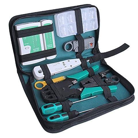 ID Max Professional Network Computer Maintenance Kit d'outils de réparation avec fermeture à glissière étui de rangement, 18pièces