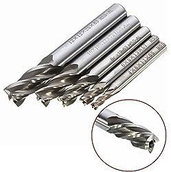 Yosoo 5Pcs HSS CNC Lathe Straight Shank 4 Flute End Mill Cutter Drill Bit Tool 4/6/8/10/12mm