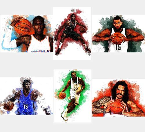 General ART Poster mit Basketball-Sportsternen und Aquarellfarben, DIN A4 (21 x 29 cm), ungerahmt, Schröder Antetokounmpo Monroe Middleton, George Westbrook Adams, 6 Stück