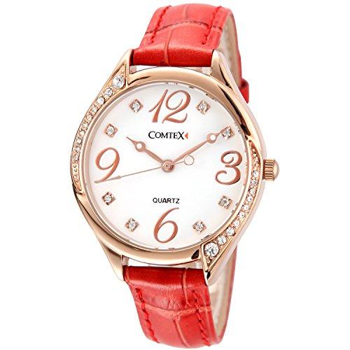 Comtex Damen Armbanduhr Analog Quarz mit Leder Armband Rot